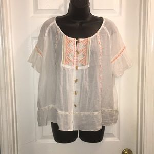Sonoma embroidered sheer top
